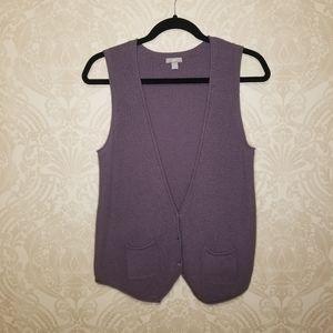 J. Jill purple knit vest cardigan